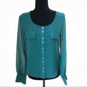 2/$15 Green Sheer Button Down Long Sleeves